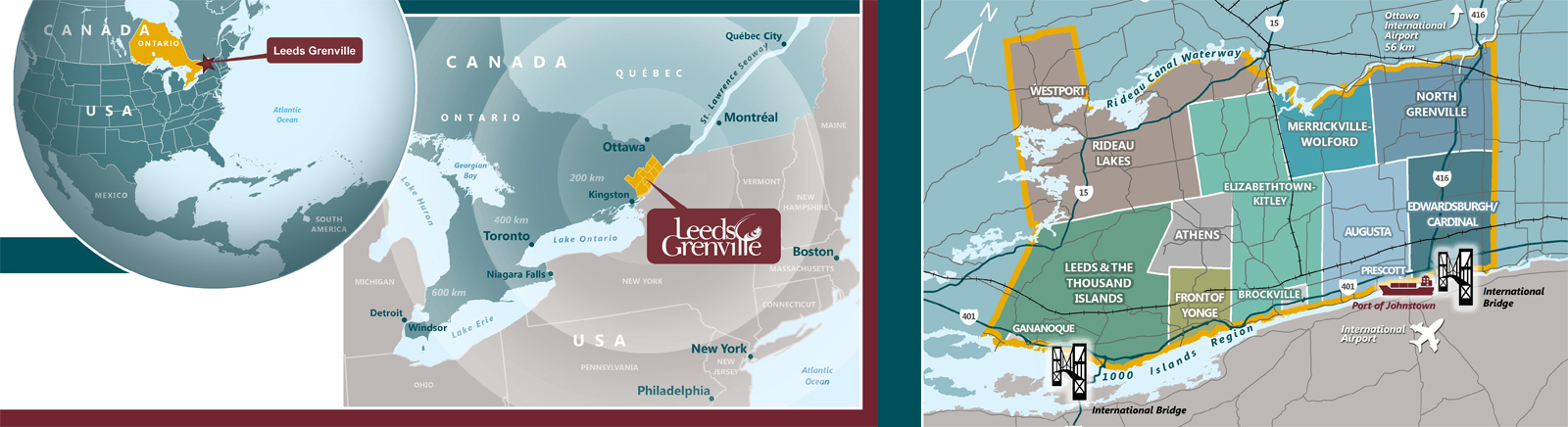 Maps showing Location of Leeds Grenville