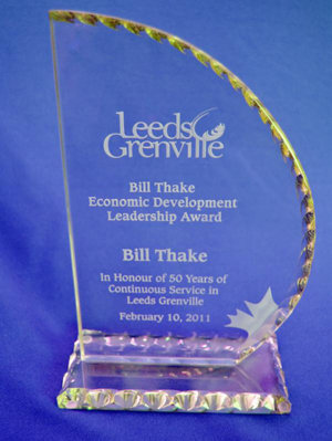 Bill Thake Award glass trophy